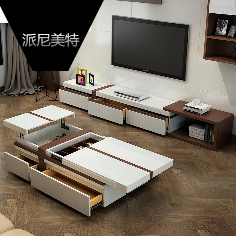多功能家具_现代简约茶几北欧客厅家具组合套装带抽屉储物多功能茶几欧式电视柜