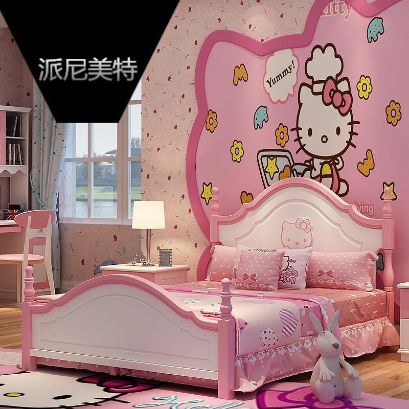 儿童家具套房儿童床双人床女孩粉色公主床储物单床简易床箱儿童家具套