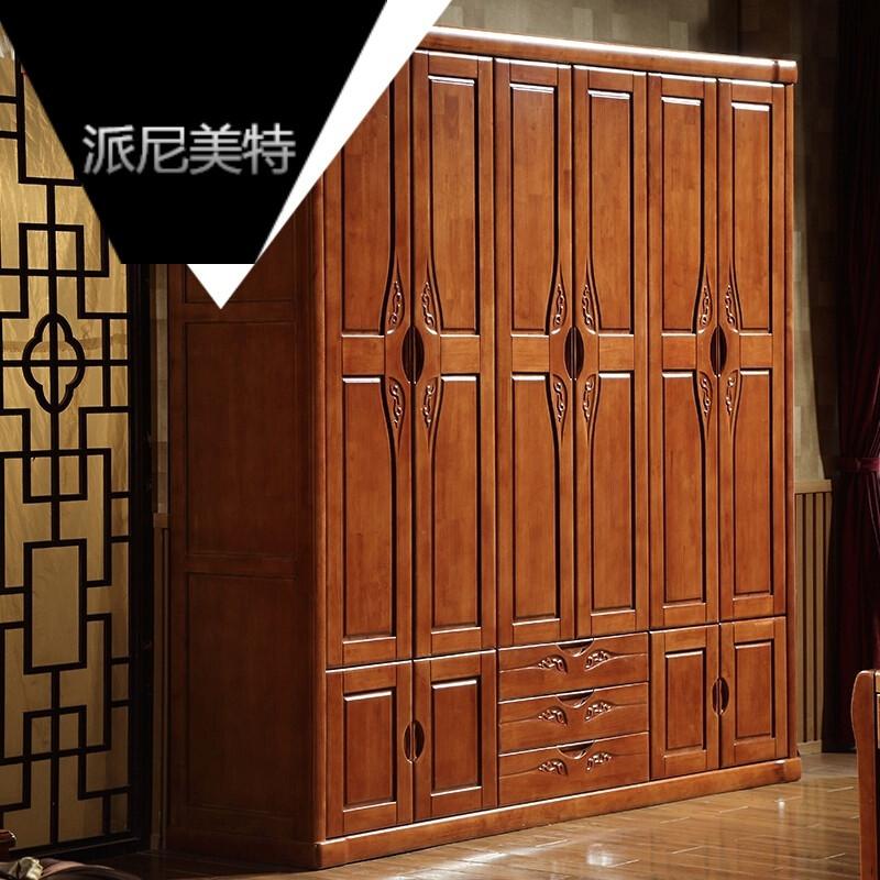 四门五门六门组装衣柜实木衣柜木质储物现代中式卧室非酸色现代中式