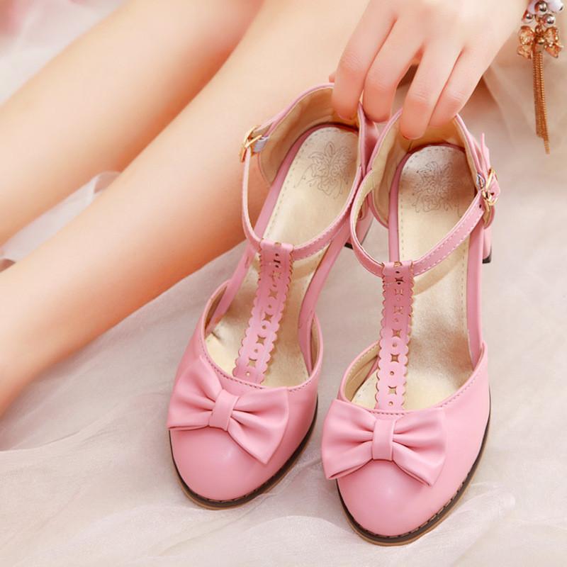 明星同款儿童包头高跟鞋灰姑娘玻璃亮钻女童水晶鞋公主凉鞋潮