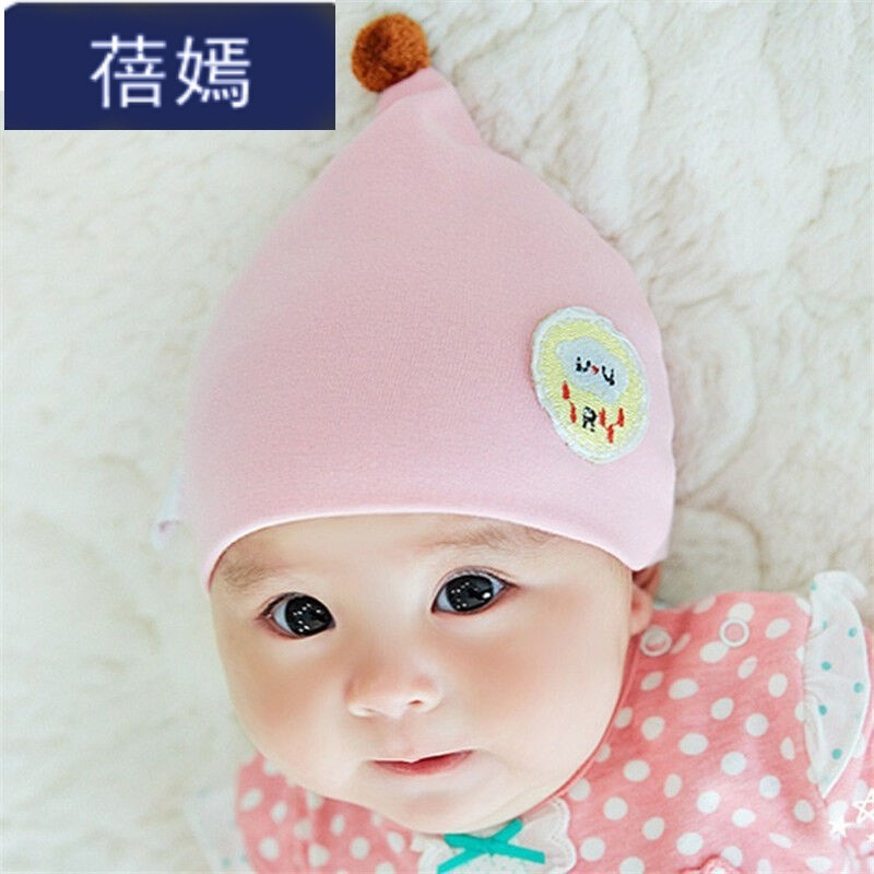 迪嘉乐婴儿帽子秋冬新生儿胎帽--个月幼儿宝宝帽子毛线帽韩版男女粉色