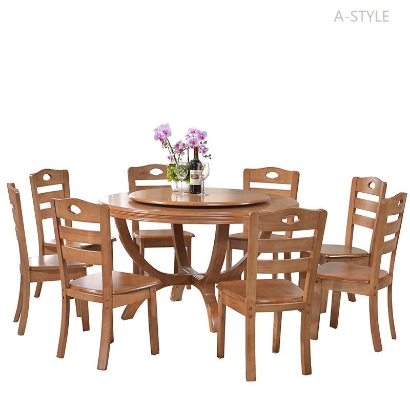 a-style实木圆桌餐桌现代简约中式酒店1015人带转盘家用客厅大圆形桌