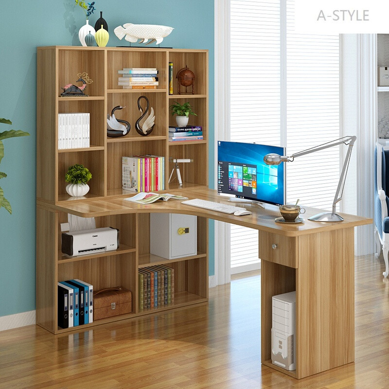 a-style学生书桌带书柜书架组合转角电脑桌台式家用简约儿童学习