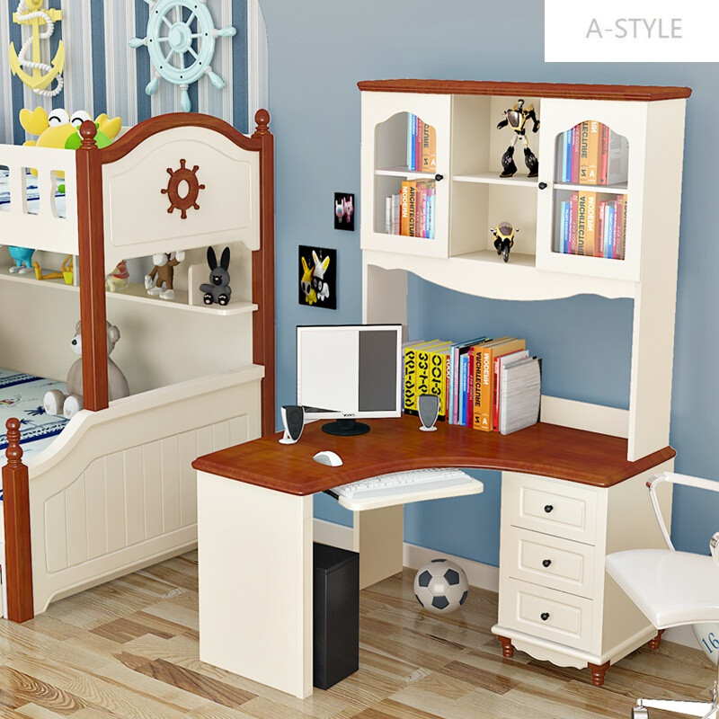 a-style地中海书桌实木电脑桌学生书柜书桌书架组合儿童电脑台图片