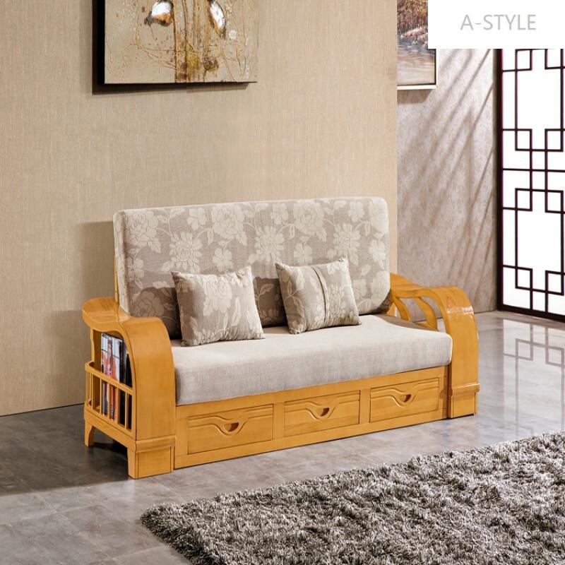 a-style实木沙发组合新中式沙发实木沙发榉木功能伸缩沙发床两用3.