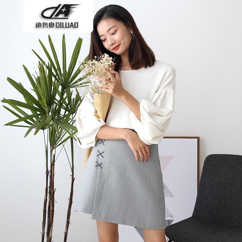 2017秋装新款千鸟格不规则拼接裙摆设计短款包臀半裙半身裙k73007