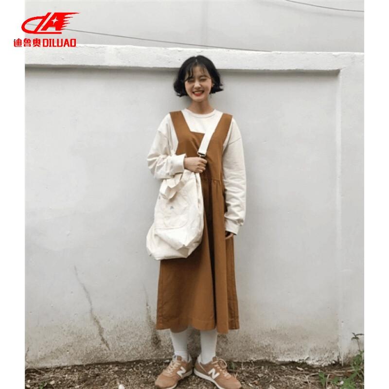 diluao迪鲁奥可爱~套装背带连衣裙韩国uzzang原宿风复古软妹宽松长袖