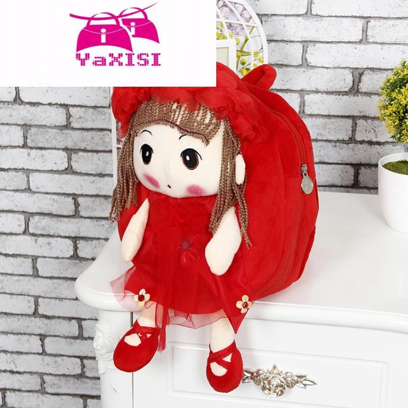 yasixi时尚品牌卡通幼儿园书包女宝宝可爱大中小班儿童双肩背包布娃娃