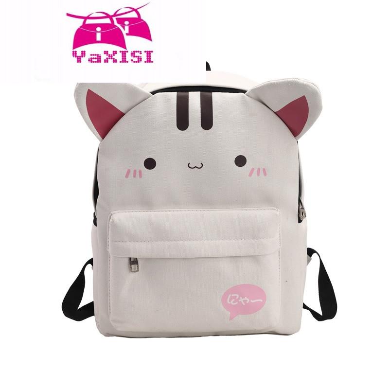 yasixi日韩版帆布双肩包女可爱猫咪小背包百搭休闲旅行学生书包