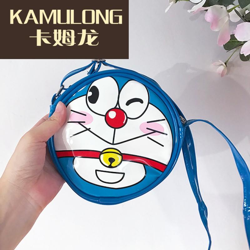 kamulong可爱呆萌 童年回忆我爱的蓝胖子 袖珍童趣 圆形单肩斜挎包
