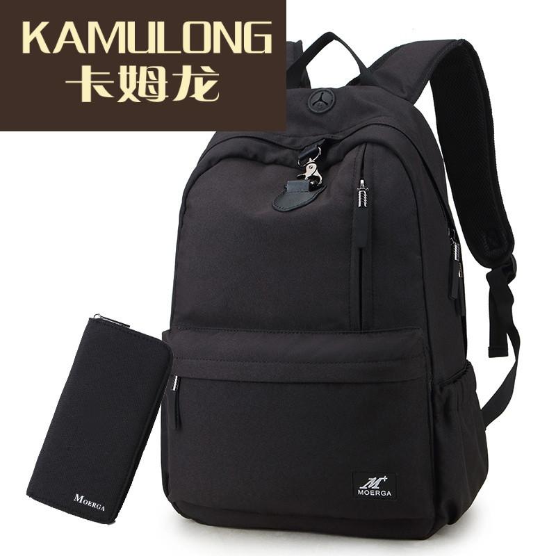 kamulong摩尔伽男士双肩包时尚潮流韩版旅行背包日韩个性大学高中学生