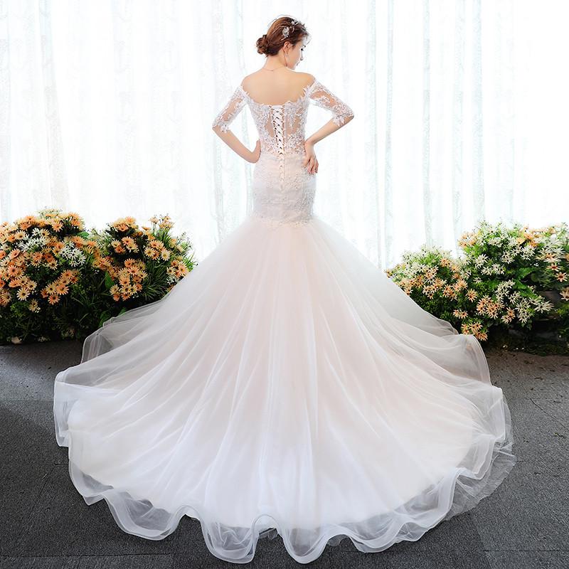 婚纱礼服2017新款韩版新娘冬季欧美森系一字肩中袖鱼尾收腰小拖尾
