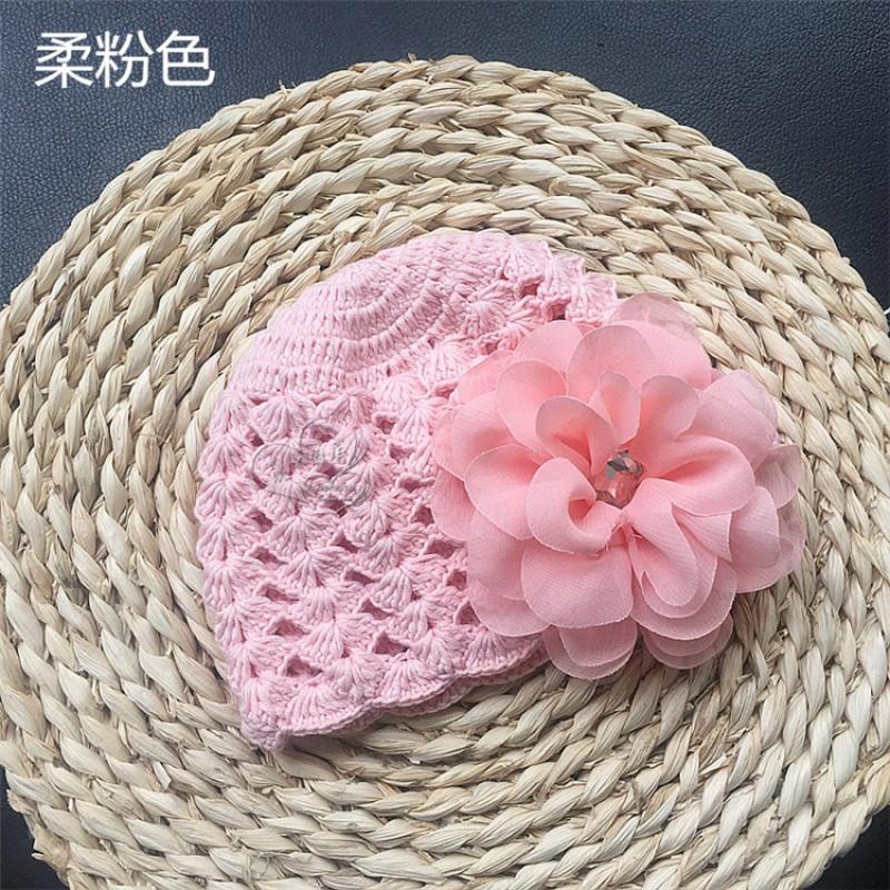纯棉毛线镂空婴儿帽子手工编织雪纺花朵女宝宝公主帽子春秋薄款夏
