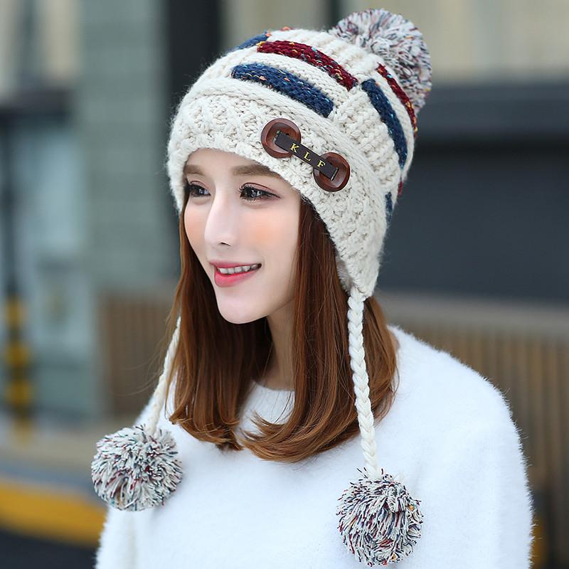 韩版潮帽子女冬甜美可爱女生毛线帽保暖加厚冬帽套头针织帽防风帽