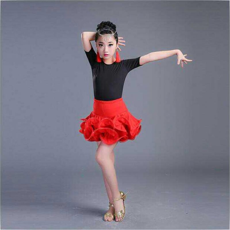 新款拉丁舞裙儿童拉丁舞服装女童舞蹈短袖练功服演出服春秋季长袖