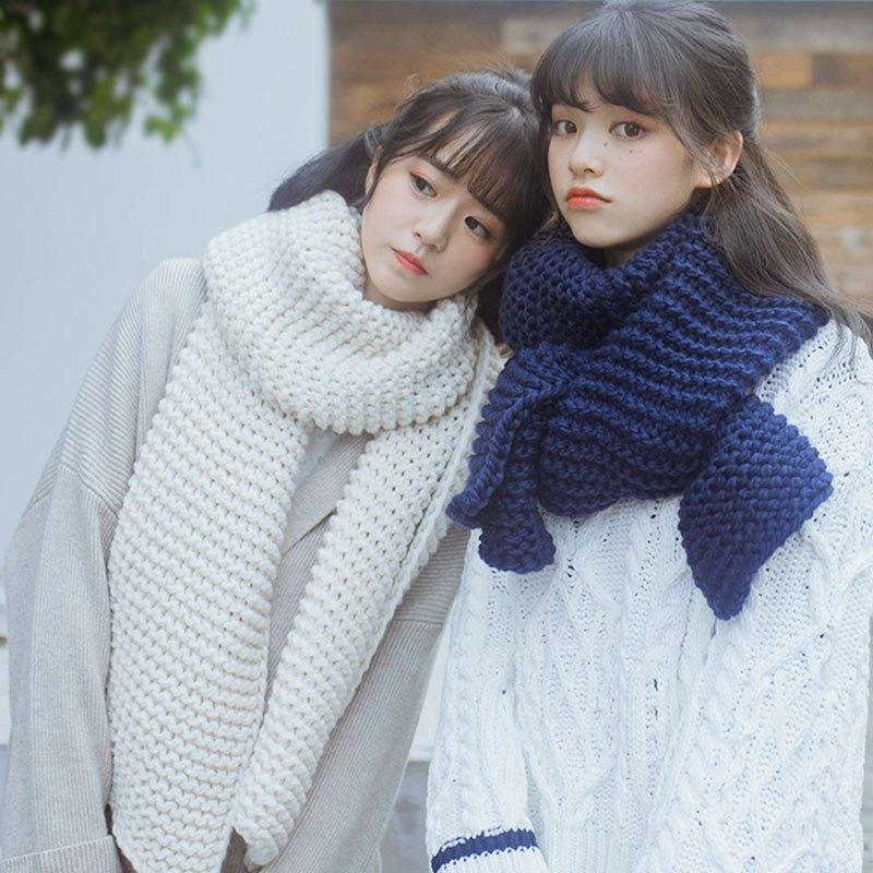 韩版手工编织粗毛线纯色围脖女冬季加厚长款学生情侣保暖针织围巾