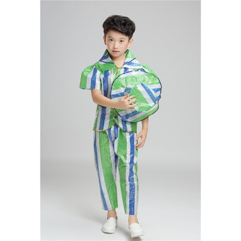 儿童环保表演服服塑料袋手工环保服亲子装环保幼儿园时装秀公主裙