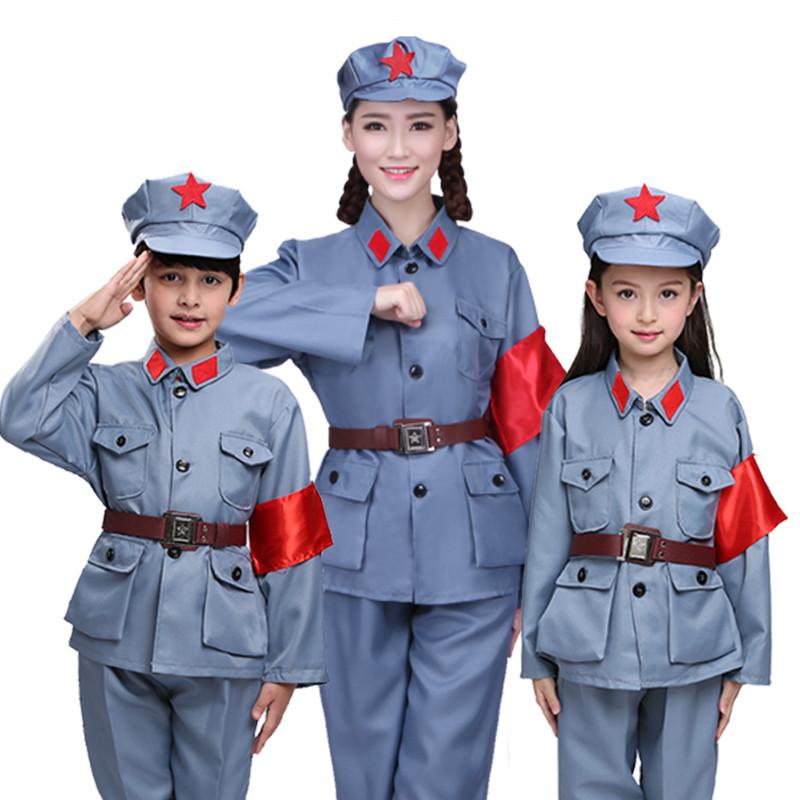 一女多男成人小�_成人男儿童女童军装八路军表演服红卫兵抗战解放小红军儿童演出服