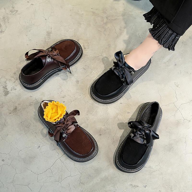 日系洛丽塔鞋子女学生原宿复古软妹小皮鞋女秋冬加绒圆头系带单鞋