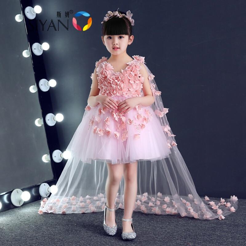 斯妍新款儿童生日晚礼服女童公主裙钢琴演出服模特走秀大童花童婚纱裙图片