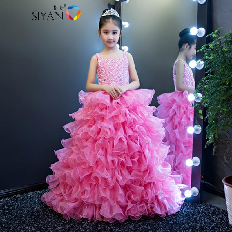 斯妍女童儿童表演服装新款大童女童走秀晚礼服公主裙舞蹈服蓬蓬裙女夏图片