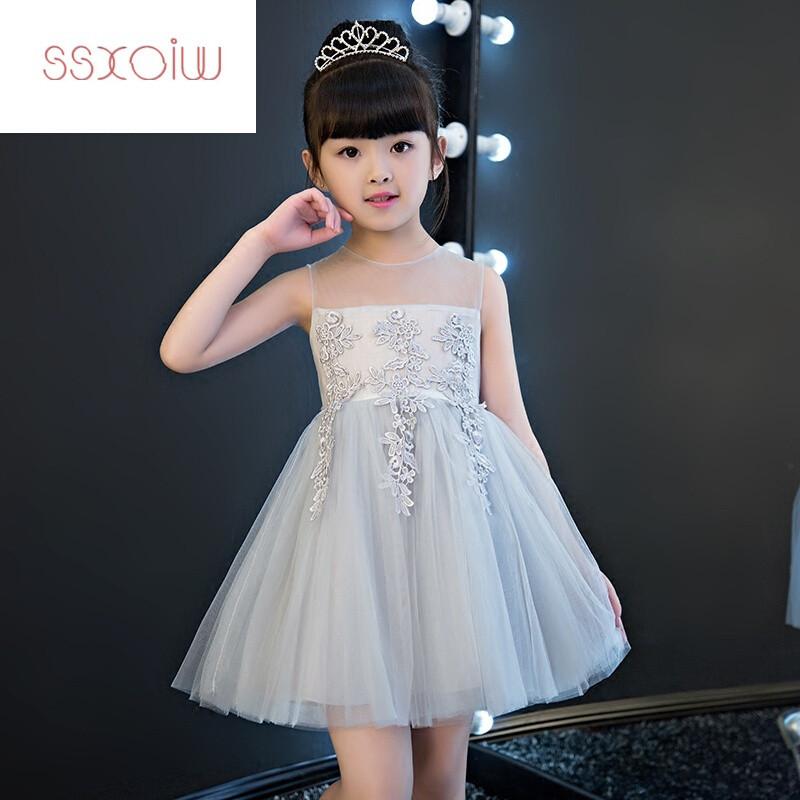 ssxoiw儿童小主持人礼服女童短款蓬蓬白色公主裙花童婚纱钢琴演出服