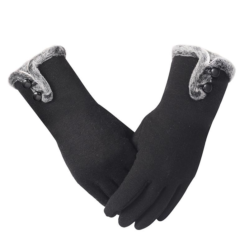 902新款韩版手套女冬季可爱保暖加绒加厚食指触控触摸
