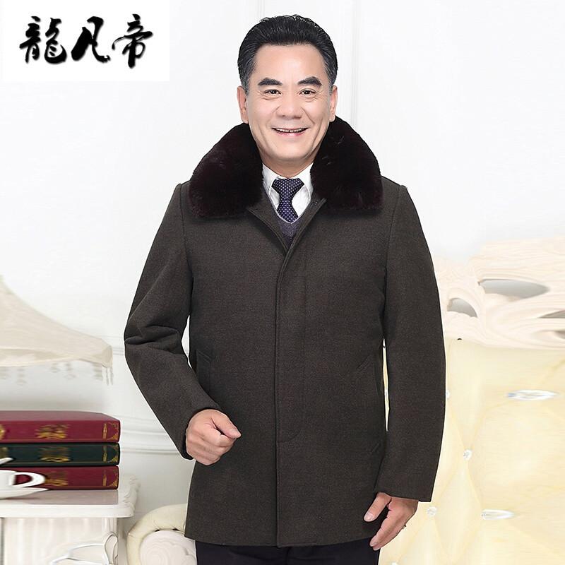 龙凡帝中老年毛呢大衣男加厚加绒爸爸装秋冬季