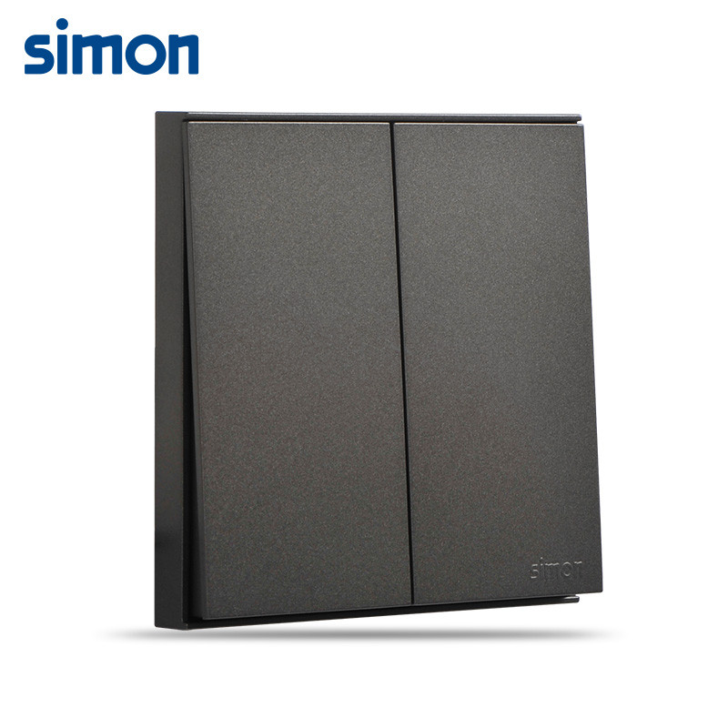 西蒙86型e6荧光灰二开双控开关插座面板墙壁家用电源两开双开双联面板
