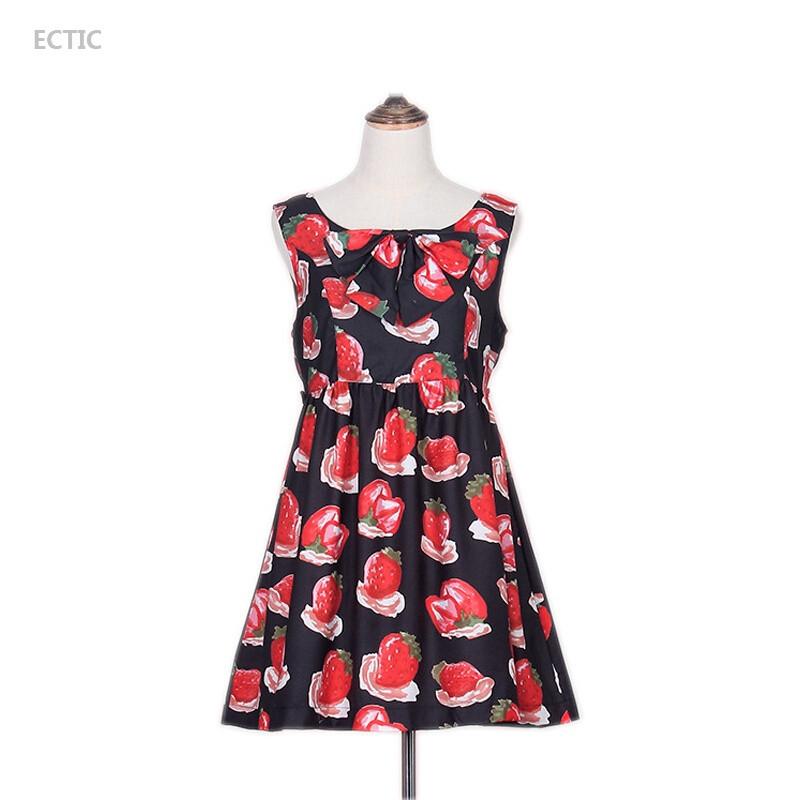 ectic二次元少女心日系软妹连衣裙萝莉小碎花裙小清新文艺范草莓裙子