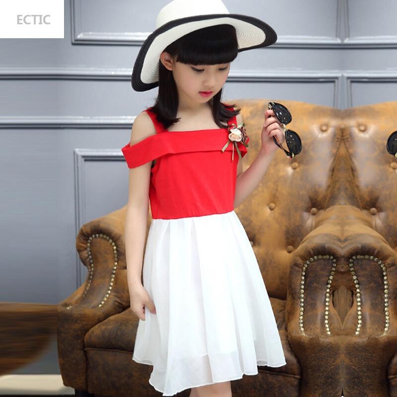 ectic女童连衣裙夏装6夏天露肩10小女孩11中大童女装12-15岁小学生