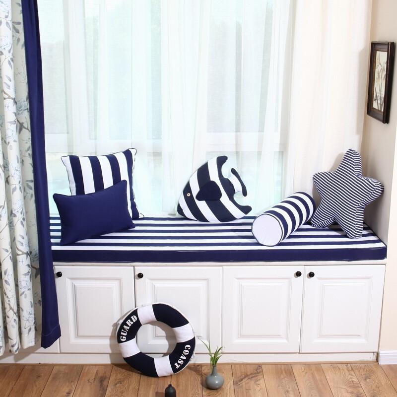 doxa定做蓝条纹飘窗垫卧室窗台垫北欧地中海海绵垫榻榻米垫卡通加厚