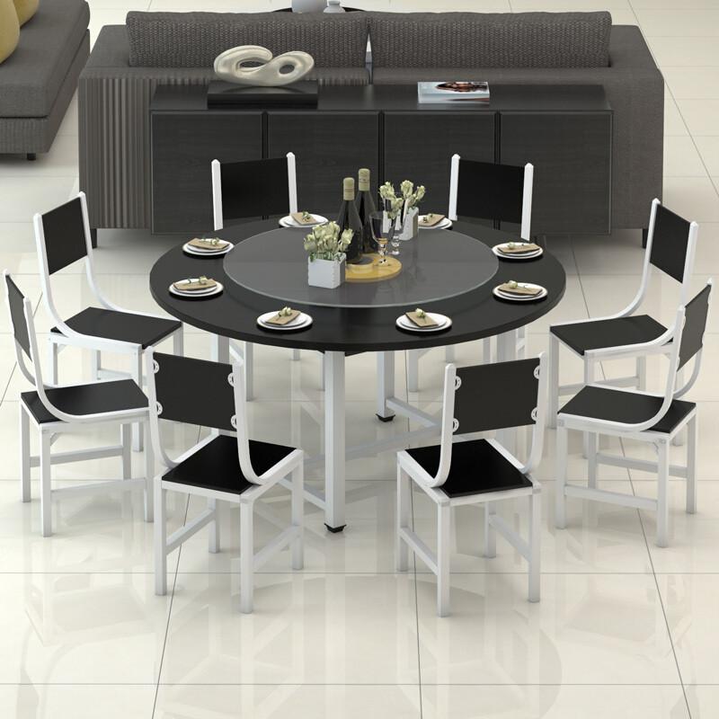 doxa圆形餐桌椅组合简约大圆桌小户型现代圆桌带转盘四椅六椅桌椅烤漆