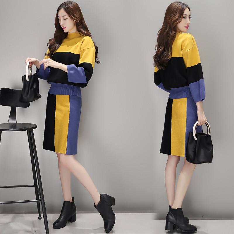 特价2017秋装新款女韩版针织上衣包臀半身裙套装秋季显瘦chic风两件套