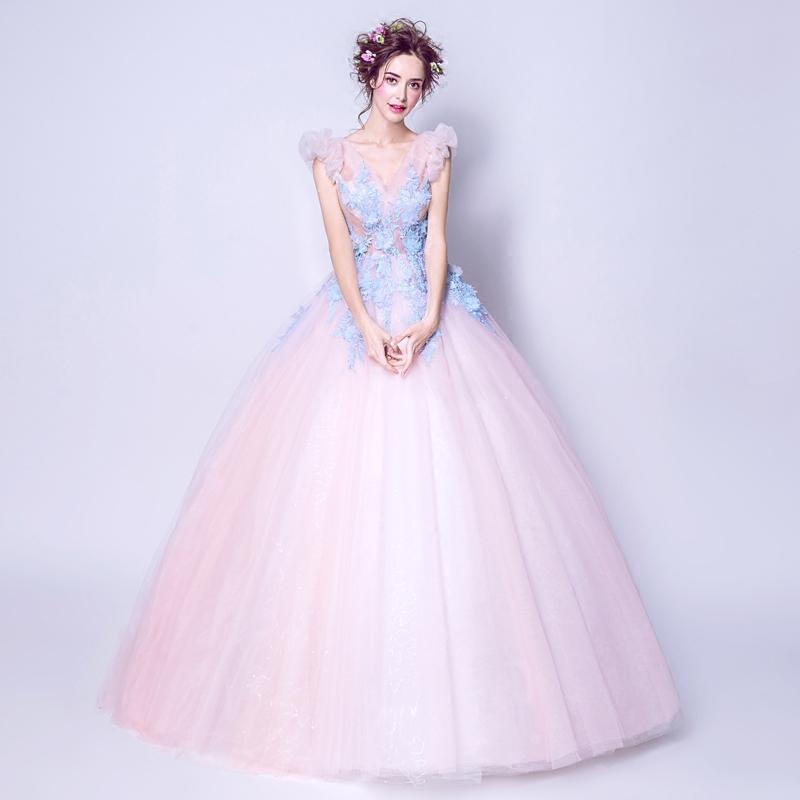 特价浪漫来袭 小公主泡泡袖 仙美粉色蕾丝花朵新娘婚纱礼服敬酒服