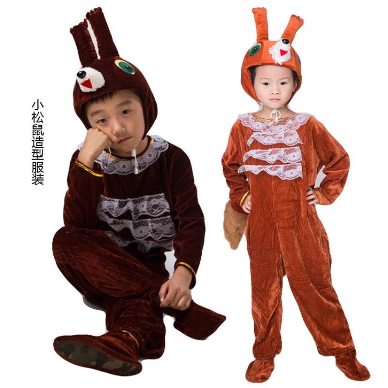 特价儿童动物表演服装小松鼠万圣节成人幼儿动物造型演出服装松鼠卡通