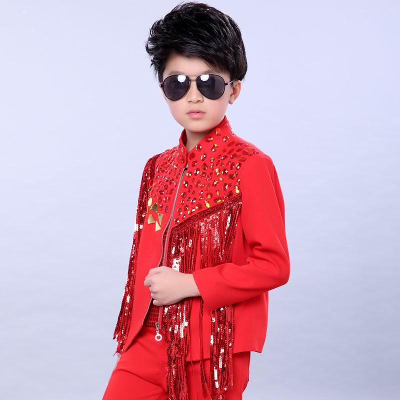 特价儿童模特走秀歌手主持人街舞表演流苏亮片男童演出服装架子鼓舞台