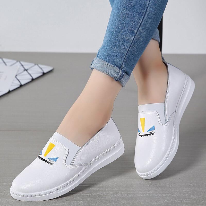 时尚风套脚简约女生乐福鞋2017新品欧美舒适女生我把了屏蔽qq图片