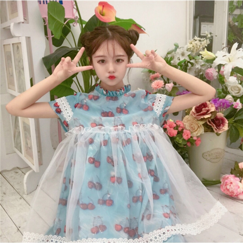 新款夏装女装韩版可爱樱桃小清新网纱拼接短袖连衣裙假两件学生娃娃裙