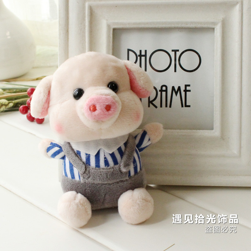 qma新款创意可爱猪猪卡通香味钥匙挂件毛绒小猪公仔钥匙扣包包饰品