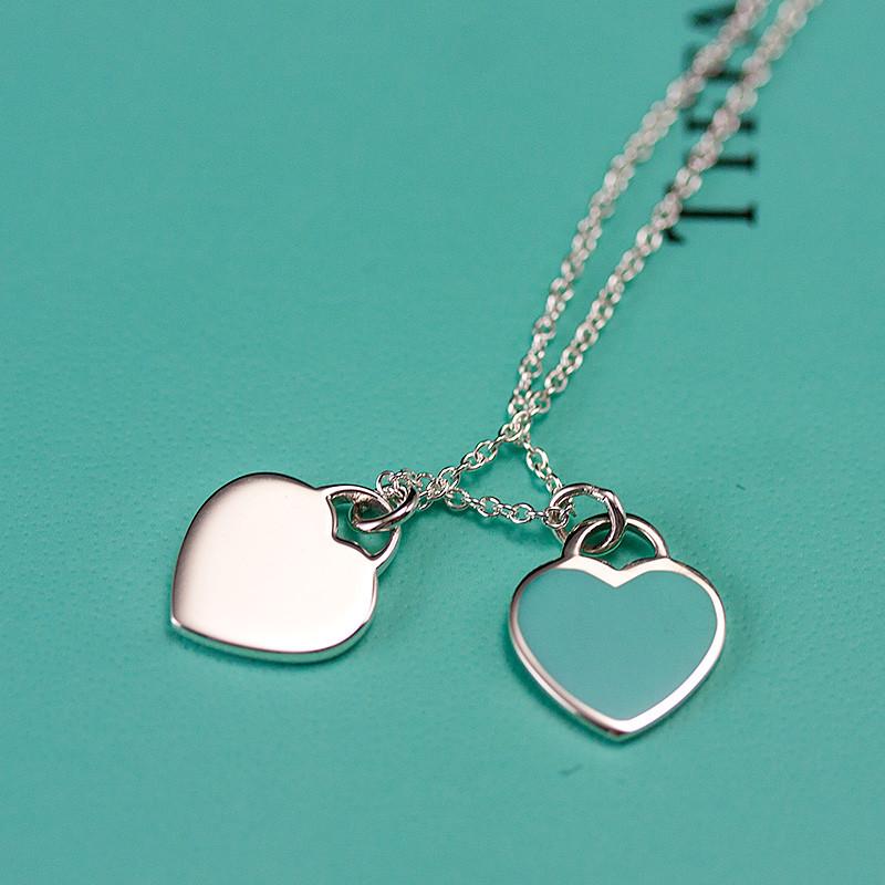 Tiffany& Co.蒂芙尼 925银镶双心形珐琅蓝心吊坠项链七夕情人礼物