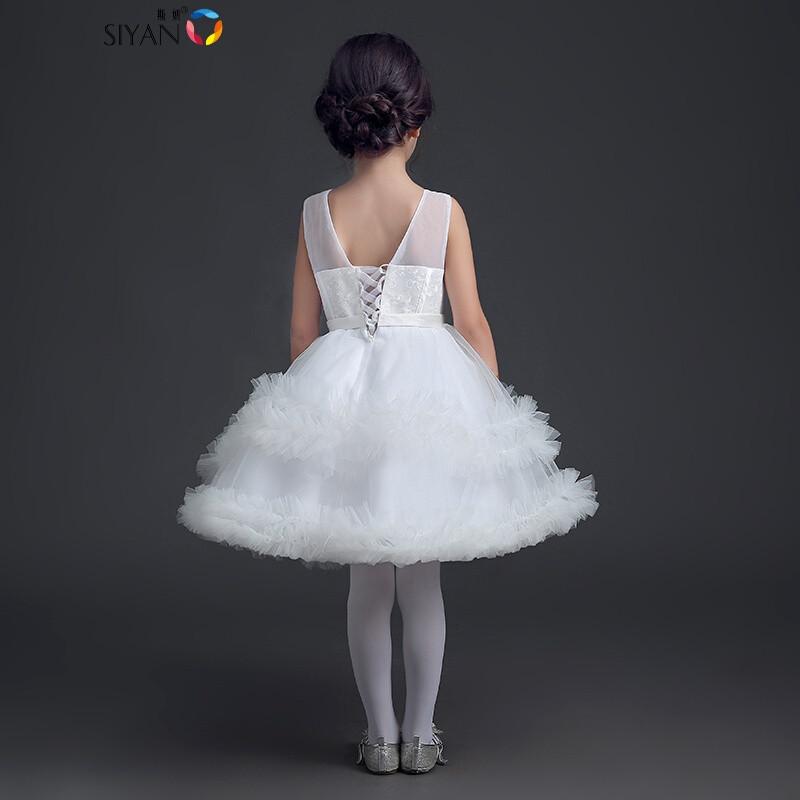 斯妍2017新款花童婚纱礼服白色儿童公主裙女童蓬蓬裙宝宝周岁礼服童装