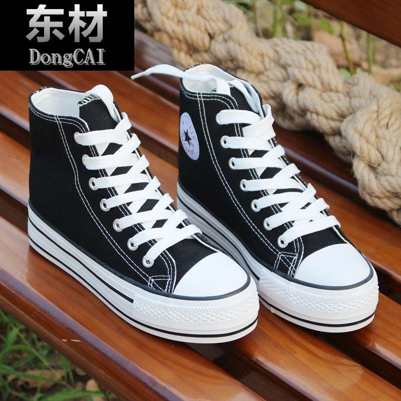 秋季高帮帆布鞋女内增高厚底街拍小白鞋学生韩
