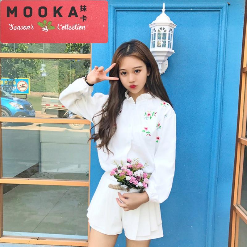 抹卡潮流2017秋装新款韩版甜美可爱刺绣百搭衬衣长袖灯芯绒衬衫上衣女