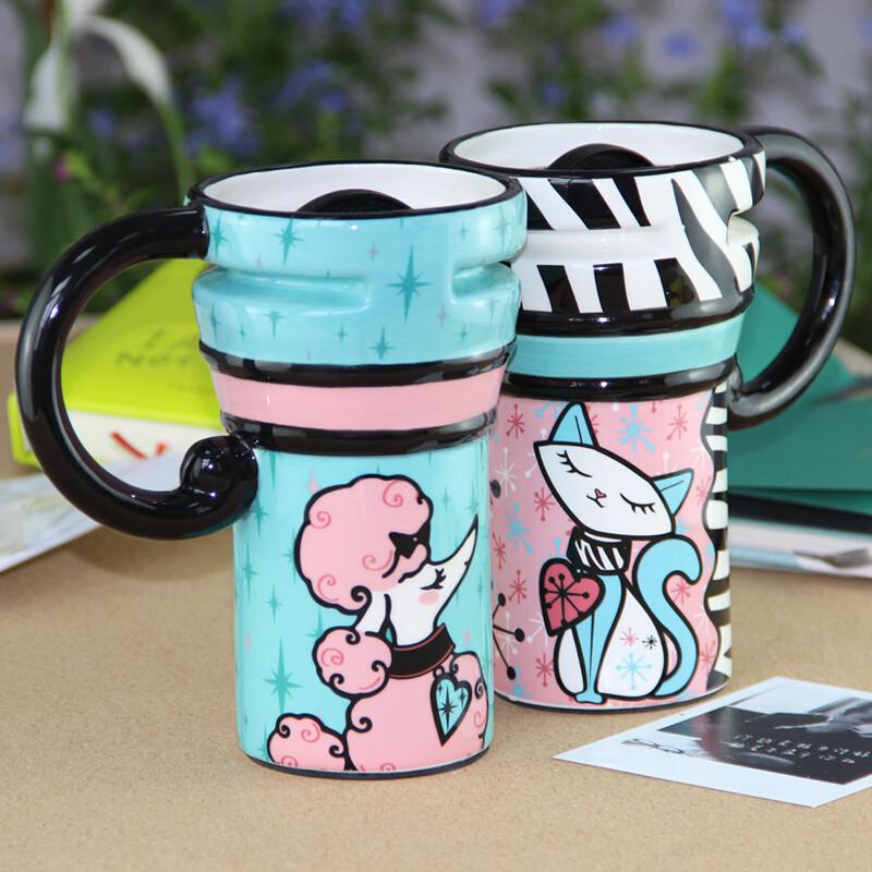 彩绘陶瓷杯创意水杯情侣对杯子带盖带勺咖啡杯大容量马克杯c