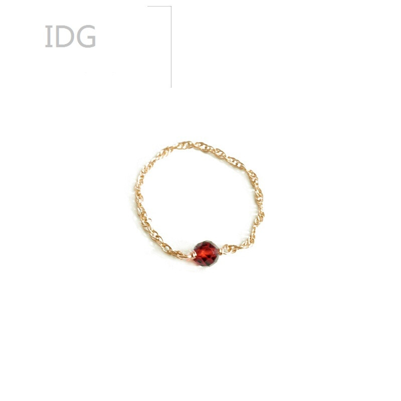 idg壹克独立设计师eunicesunelf小精灵系列红石榴石戒指指环女金色红
