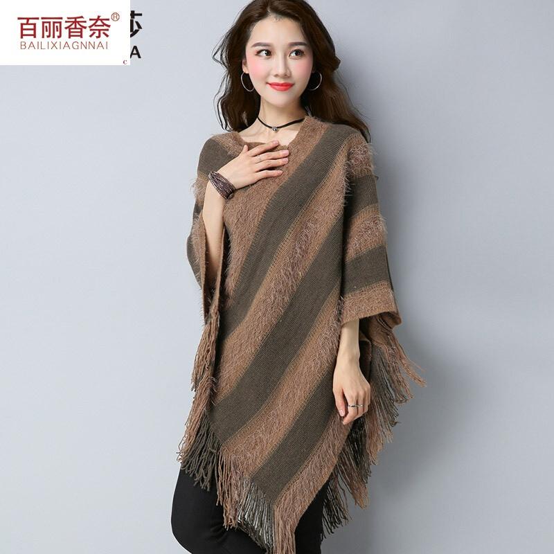 百丽香奈套头披肩斗篷女中长款针织衫宽松显瘦韩版秋装外套罩衫毛衣欧