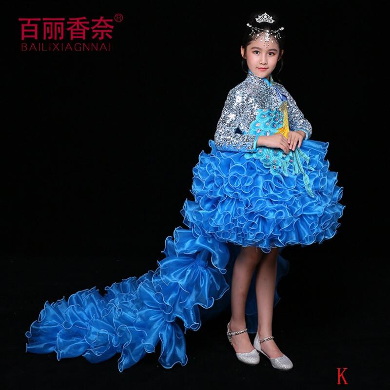 百丽香奈(bailixiangnai) 儿童礼服长袖拖尾走秀主持人钢琴表演公主图片