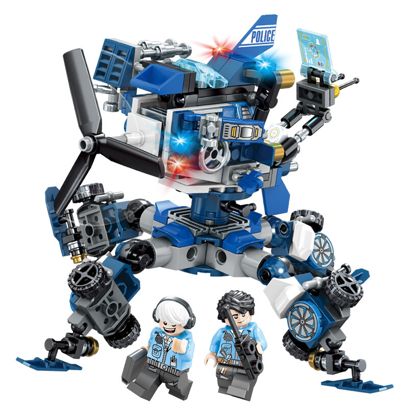 新森宝 积木玩具警察拼插未来骑士团益智儿童军事拼装