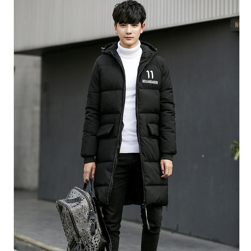 型男大師2018冬季新款韓版中長款連帽棉服潮流外套青少年棉襖男士棉衣圖片